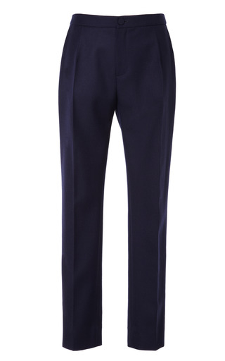 Medium bouchra jarrar blue navy slim gabardine trousers
