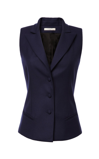 Medium bouchra jarrar blue wool gabardine suiting vest