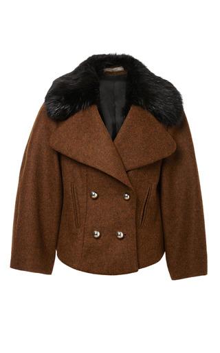 Medium bouchra jarrar brown double breasted shetland jacket with fur collar