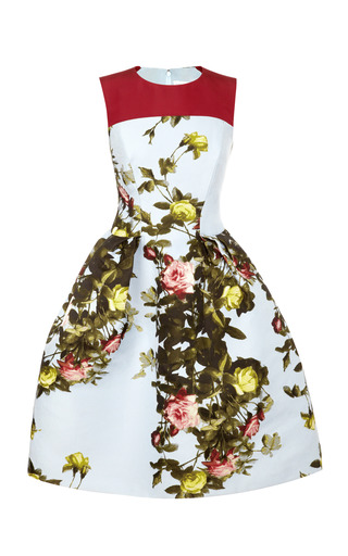 Medium carolina herrera multi floral printed satin jacquard dress