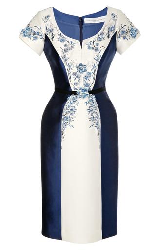 Medium carolina herrera blue beaded and embroidered mikado dress