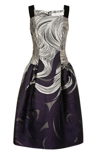Medium carolina herrera black fitted drop waist jacquard dress