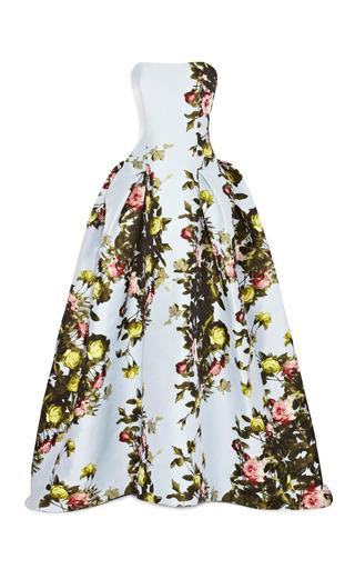 Medium carolina herrera multi floral printed satin jacquard stapless gown