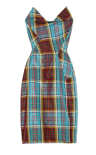 Medium vivienne westwood multi silk taffeta plaid bustier dress