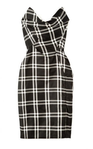 Medium vivienne westwood black silk taffeta checked bustier dress