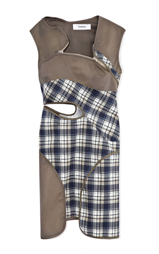 Cutout Panelled Plaid And Khaki Dress With Zipper Detail by CHALAYAN Now Available on Moda Operandi
