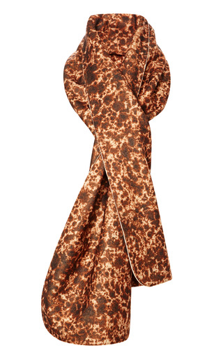 Medium carven brown printed wool blend drape scarf