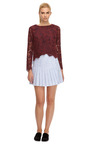 Two Tone Floral Lace Top by CARVEN Now Available on Moda Operandi