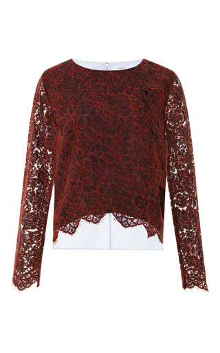 Medium carven burgundy two tone floral lace top