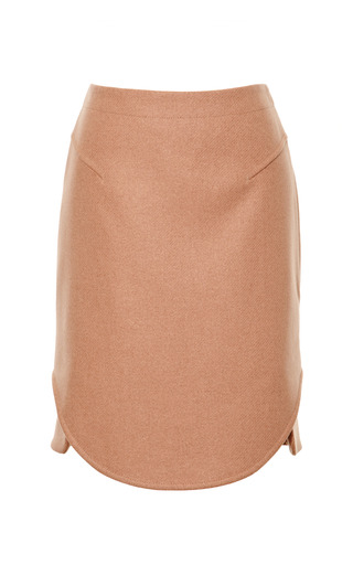 Medium carven nude wool skirt with envelope hem
