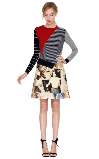 Printed Wool Canvas Skirt by CARVEN Now Available on Moda Operandi