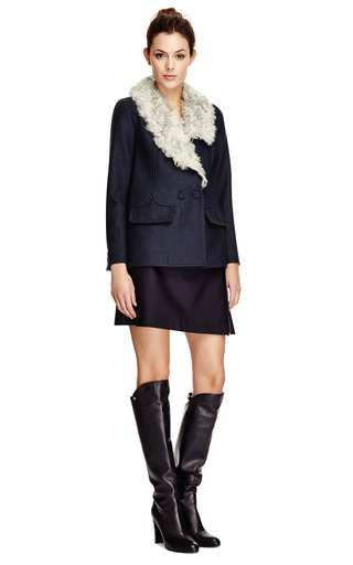 Fur Collared Wool Caban Jacket by CARVEN Now Available on Moda Operandi