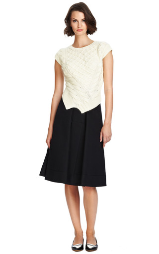 Wool Knit Sweater With Asymmetric Hem by CARVEN Now Available on Moda Operandi