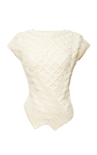 Medium carven white wool knit sweater with asymmetric hem