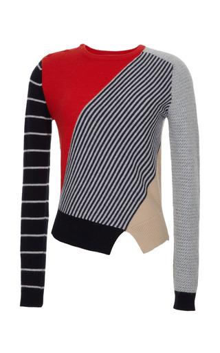 Medium carven multi color blocked wool blend knit sweater