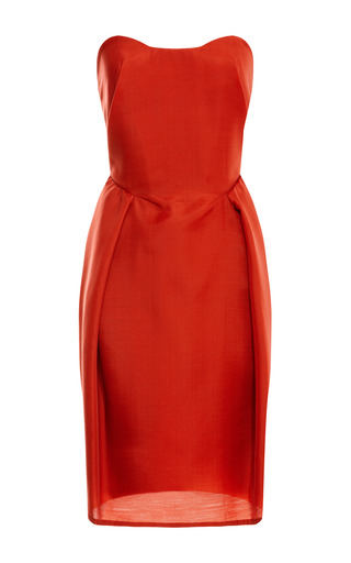 Medium carven red strapless wool gazar dress