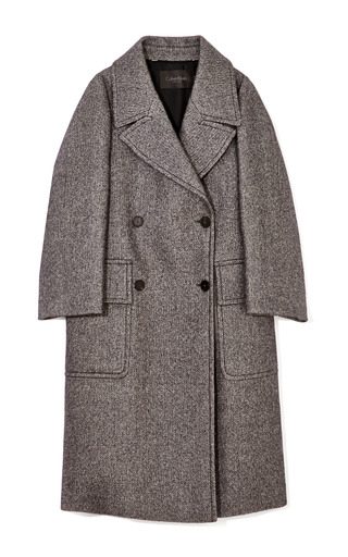 Medium calvin klein collection dark grey reeves double breasted tweed overcoat