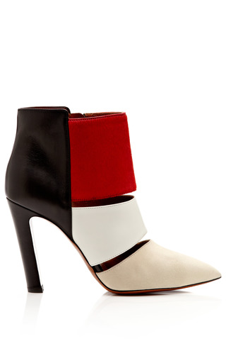 Medium calvin klein collection red nanette suede leather calf hair ankle boots