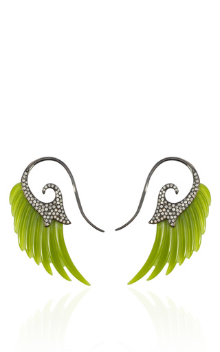 Medium noor fares green fly me to the moon jade and diamond wing earrings