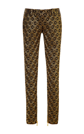 Medium balmain gold jacquard skinny trousers