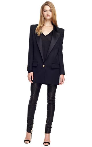 Long Square Shoulder Single Button Blazer by BALMAIN Now Available on Moda Operandi