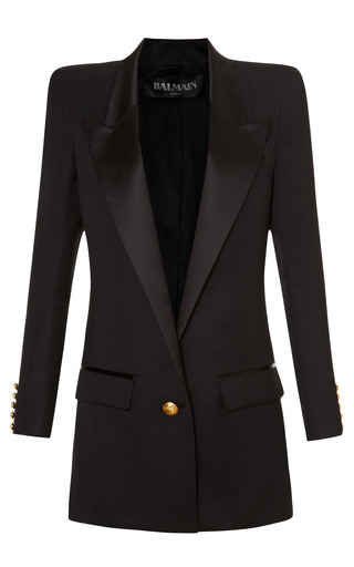 Medium balmain black long square shoulder single button blazer