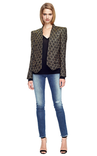 Jacquard Structured Shoulder Blazer by BALMAIN Now Available on Moda Operandi