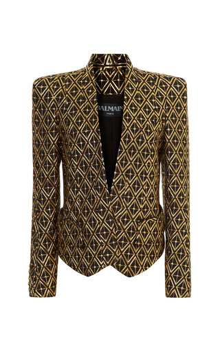 Medium balmain gold jacquard structured shoulder blazer