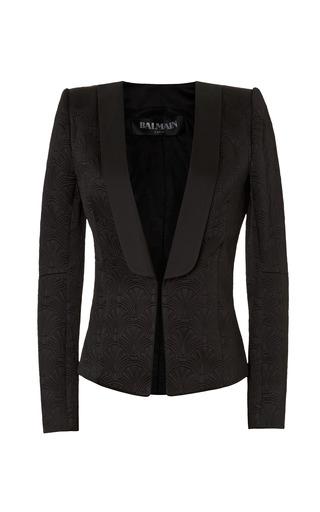 Medium balmain black structured jacquard blazer