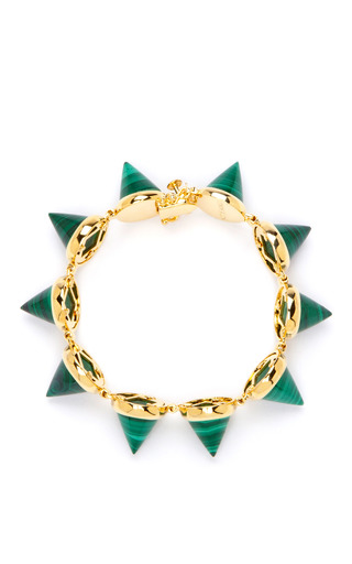 Gold Plated Malachite Cone Bracelet by EDDIE BORGO Now Available on Moda Operandi