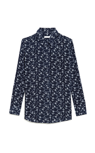 Medium equipment print reese anchor print silk blouse