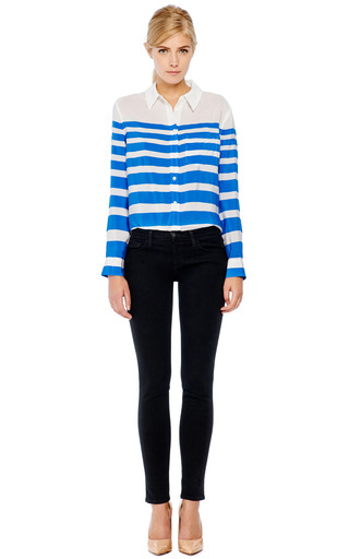 Reese Striped Silk Blouse by EQUIPMENT Now Available on Moda Operandi