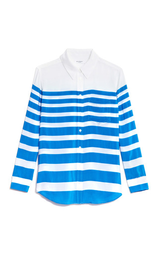 Medium equipment blue reese striped silk blouse