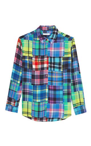 Medium equipment multi signature plaid print silk shirt
