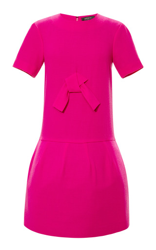 Medium giulietta pink double crepe wool drop waist dress