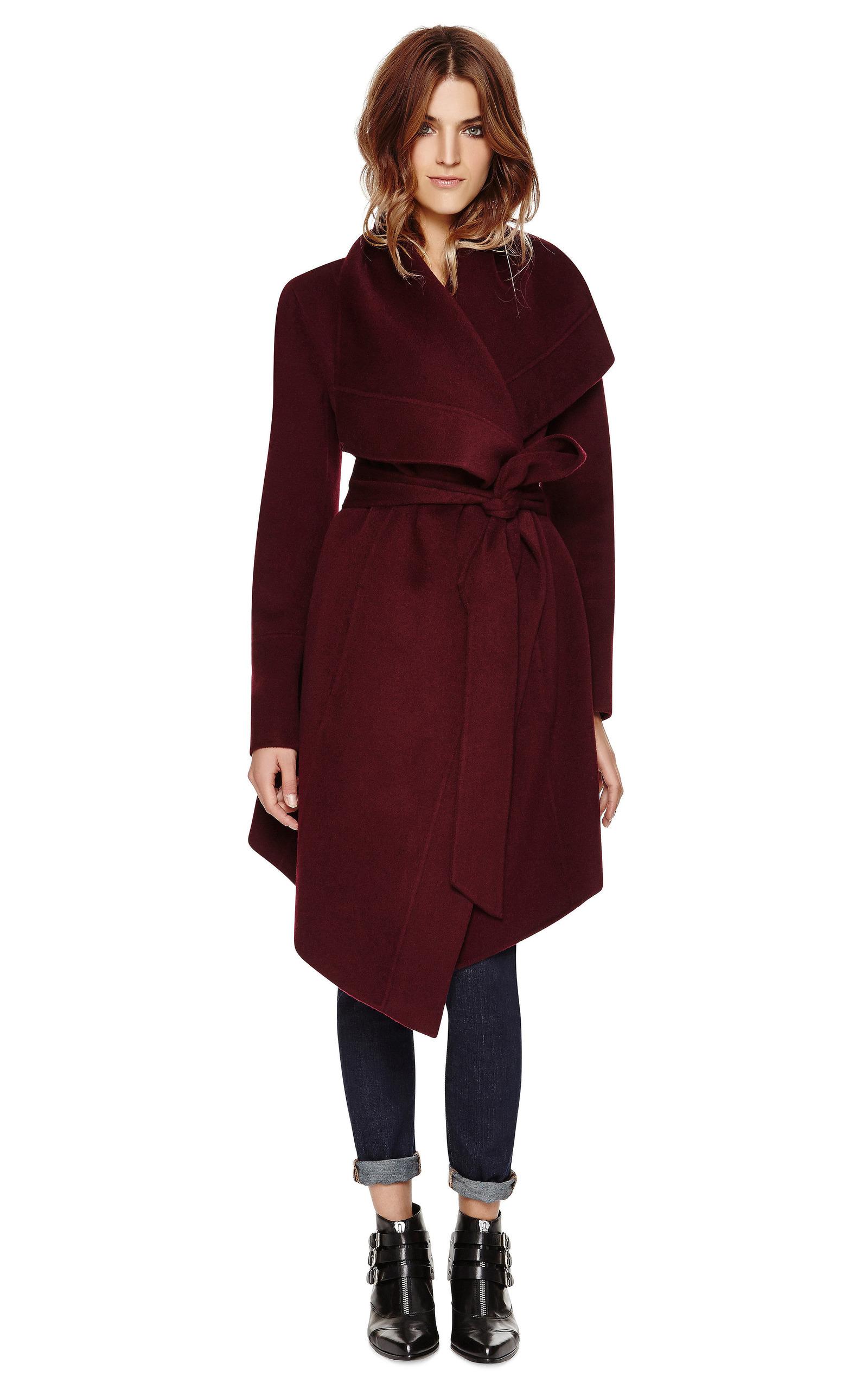 belted draped lapel cashmere coat by donna karan moda. Black Bedroom Furniture Sets. Home Design Ideas