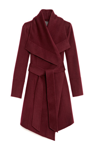 Medium donna karan red belted draped lapel cashmere coat