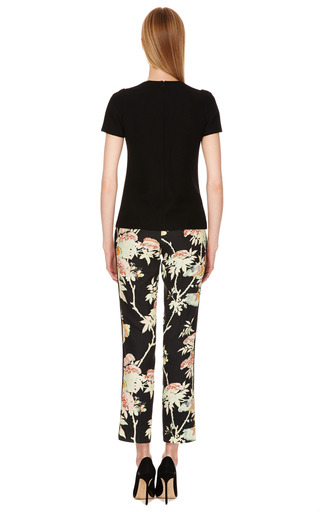 Crepe Floral Print Cropped Pants by HONOR Now Available on Moda Operandi