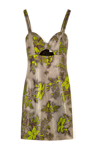 Medium honor print mo exclusive laminated floral print mini dress