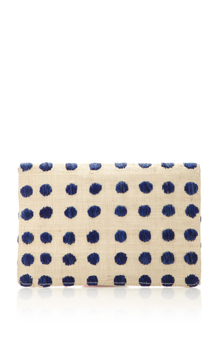 Raffia Embroidered Straw Clutch by KAYU Now Available on Moda Operandi
