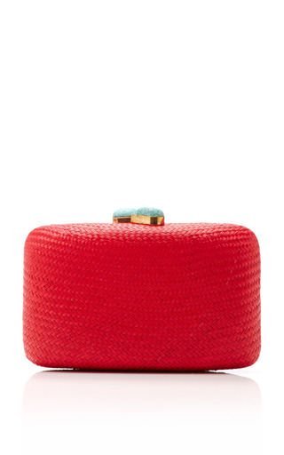 Hand Woven Straw Clutch With Turquoise Closure by KAYU Now Available on Moda Operandi