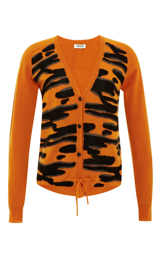 Medium kenzo orange intarsia detail wool cardigan