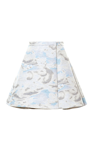 Brushed Wool Jacquard A Line Skirt by KENZO Now Available on Moda Operandi