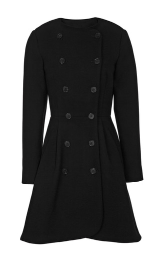 Medium kenzo black double breasted tailored wool collarless coat