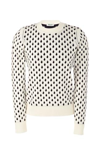 Medium kenzo white cotton blend raindrop fitted sweater