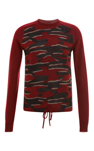 Medium kenzo burgundy intarsia detail wool sweater