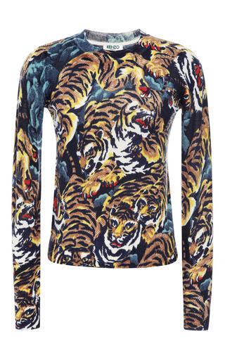Medium kenzo multi printed wool crewneck sweater