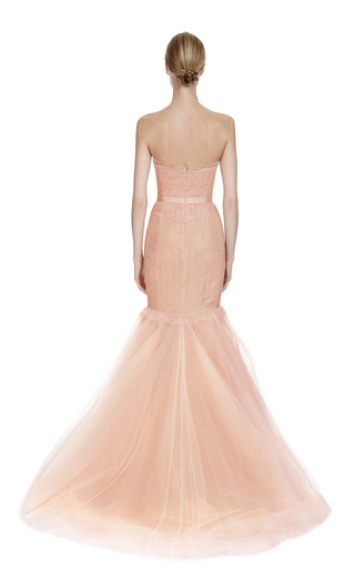 Chantilly Lace Corset Gown With Full Fishtail Tulle Skirt by MARCHESA Now Available on Moda Operandi