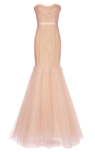Medium marchesa pink chantilly lace corset gown with full fishtail tulle skirt