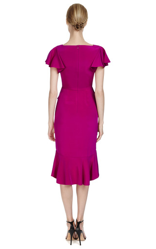 Silk Crepe Dress With Cascading Ruffled Skirt by MARCHESA Now Available on Moda Operandi